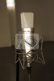 Photo microphone in studio of sound recording