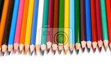 assortment colored pencils isolated on white background