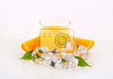 Fotografie glass of orange juice and ice cubes on white background