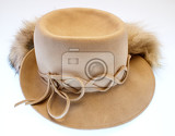 Photo Ladies' hat with fur old retro vintage white background