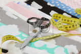 cotton fabric material and tailor measurement tape with scissors