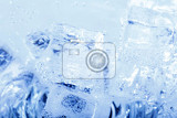 Fotografie abstract blue backgrounds with ice cubes in sparkling water