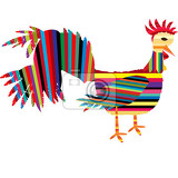 abstract isolated rooster with colored stripes over white background