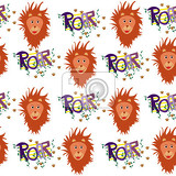 nice seamless lions pattern for kids with white background