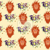 Photo nice seamless lions pattern for kids with light background