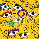Fotografie abstract eye and eyelashes with spirals over yellow background