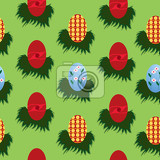 seamless egg pattern for easter nicely arrange with green background