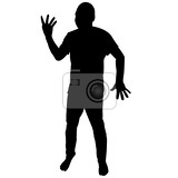 Fotografie silhouette of man showing four fingers