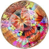 3d rendering of glossy button with colorful fractal butterfly embellishment