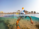 Fotografie snorkel swim in underwater exotic tropics paradise with fish and coral reef beautiful view of tropical sea marsa alam egypt summer holiday vacation concept