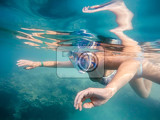 Fotografie woman snorkel in underwater exotic tropics paradise tropical sea marsa alam egypt summer holiday vacation concept