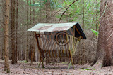 hunting feeder with roof for roe deer and wild animals in forest