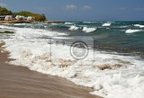 beautiful clean sea and waves summer background for travel and holidays greece crete amazing scenery on the beach