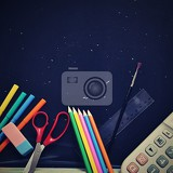 Fotografie background back to school blackboard with school aids