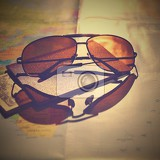 Fotografie beautiful concept for summer travel sunglasses with passport planning a summer vacation and holidays