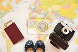 beautiful concept for summer travel map with sunset and accessories for vacation planning