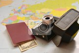 Fotografie beautiful concept for summer travel map with sunset and accessories for vacation planning