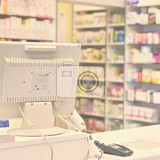 checkout the pharmacy interior pharmacies and blurred background