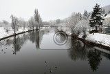 Fotografie winter landscape with a river walking the dog beautiful winter seasonal  background in nature