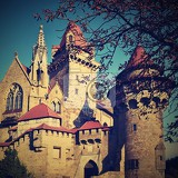 beautiful medieval kreuzenstein castle in leobendorf village near vienna austria  europe autumn day
