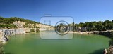 Photo panorama of abandoned and flooded quarry czech republic  beautiful landscape with sun