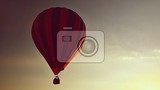 Fotografia colorful hot air balloon is flying at sunset natural colorful background with sky