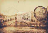 Fotografie vintage postcard with architecture on grungy paper old rialto bridge venice italy