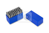 Fényképek metal lettering stamps punch set in a plastic box clipping path