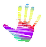 multicolor abstract handprint on white