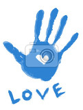 blue handprint with love symbol and