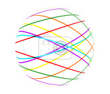 abstract color lines ball on white background