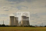 nuclear plant  landscape with power station chimneys dukovany czech republic