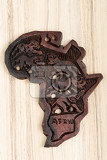 Fotografie wooden map of continent africa with animals big five