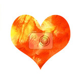 Fotografie abstract bright paint watercolor heart isolated on white background