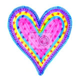 abstract love symbol with colorful hand drawn pattern on white background