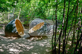 Fotografia big prehistoric dinosaur eggs in green nature environment