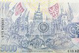 detail of czech banknote nominal value five thousand crowns money business banking concept