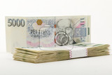 Photo czech banknotes nominal value two and five thousand crowns approximately 12 450 us dollars usd or 11 100 euro eur