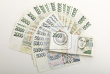 fan from czech banknotes nominal value two and five thousand crowns money business banking concept