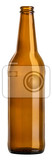 Fotografia empty brown bottle standing on white background