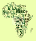 Fotografie sketch africa continent from tetx country names african words cloud in shape of the continent map of continent africa