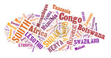 sketch from africa country names text african words cloud in shape