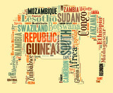 sketch from africa country names text african words cloud in elephant shape