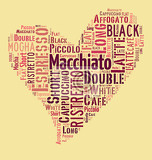 index of coffee drinks words cloud collage poster background love coffee concept on heart shape