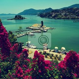 beautiful vlacherna monastery and mouse islandpontikonisi corfu  kerkyra greece beautiful colorful island for summer holidays and travel