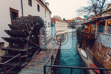 kampa island known as venice of prague in the mala strana with small river devil certovka in front millwheel