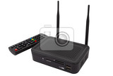 android television set top box receiver with remote controller isolated on white smart tv accessory