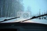 driving the car in the winter view from the interior of a car on a snowy road by the eyes of the driver concept for driving safety in the winter