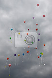 color ballons on the grey sky as nice background