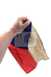 Fotografie old czech flag in human hand isolated on the white background
